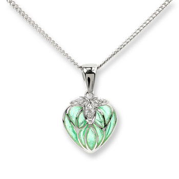 Sterling Silver Heart Necklace-Green.  Diamonds.