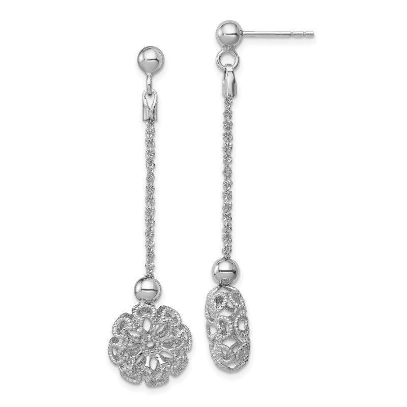 Sterling Silver RH-plated D/C Flower Post Dangle Earrings