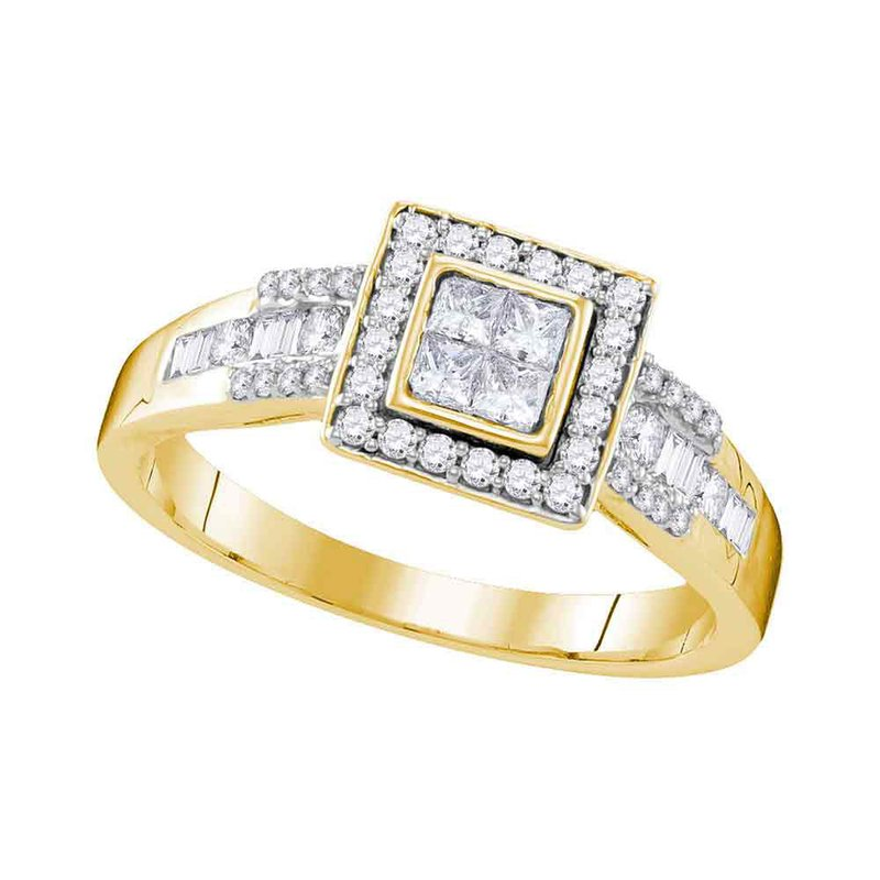 Kingdom Treasures 10kt Yellow Gold Womens Princess Diamond Square Cluster Bridal Wedding Engagement Ring 1/2 Cttw