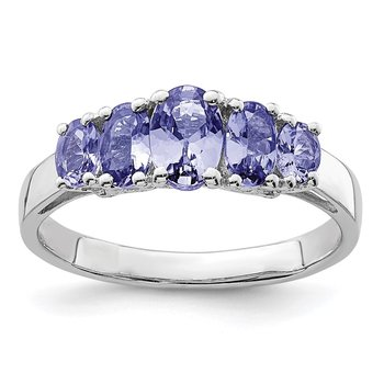 Sterling Silver Rhodium 5-Stone Oval Tanzanite Ring