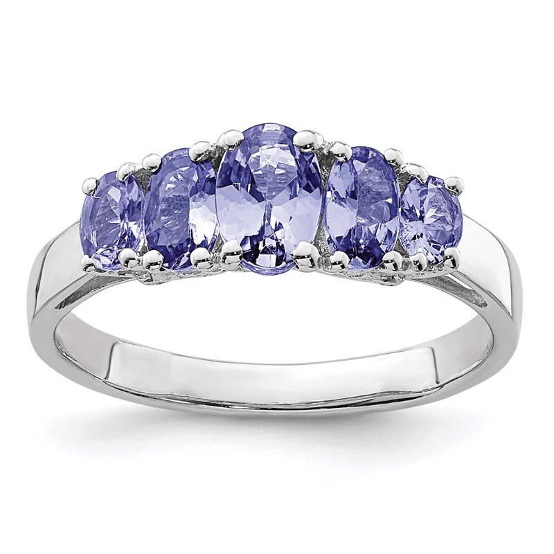 Quality Gold Sterling Silver Rhodium 5-Stone Oval Tanzanite Ring