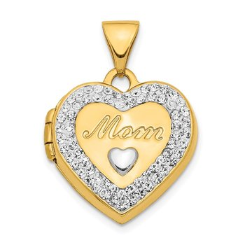 14K w/ White Rhodium Crystal 16mm MOM Heart Locket Pendant