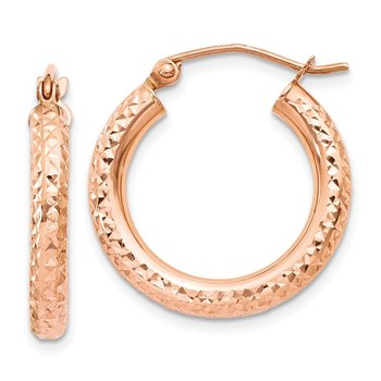 14k Rose Gold 3mm Diamond-cut Hoop
