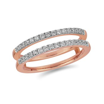14K RG and diamond Wedding Band in scallop prong setting