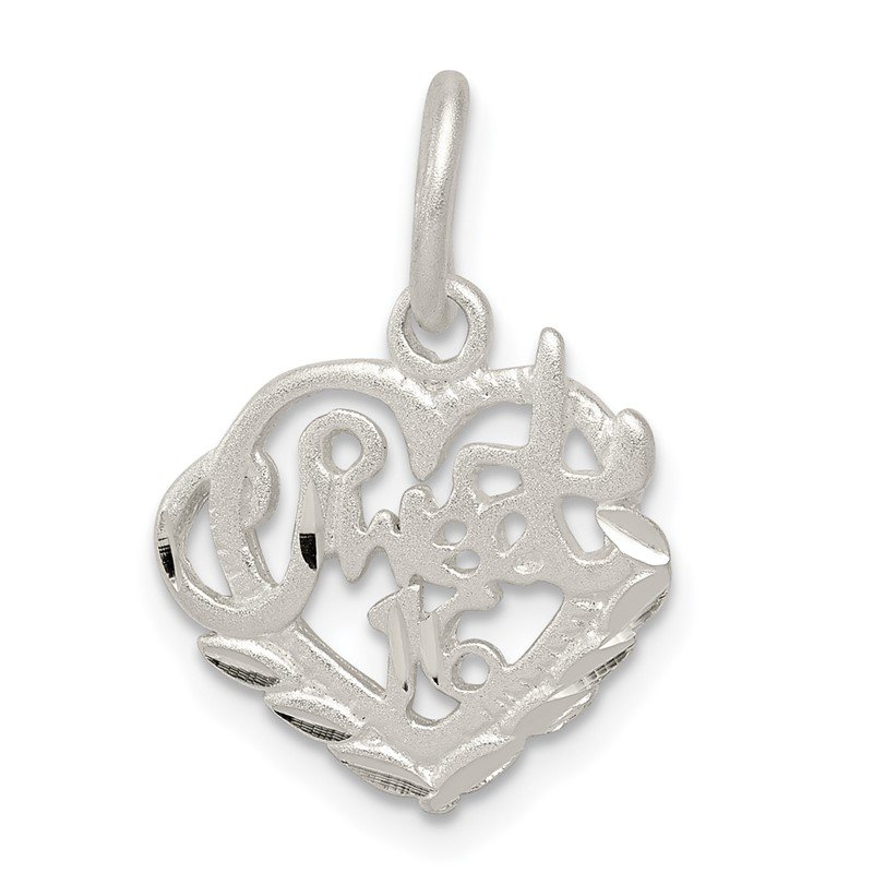 Quality Gold Sterling Silver Sweet 16 Charm