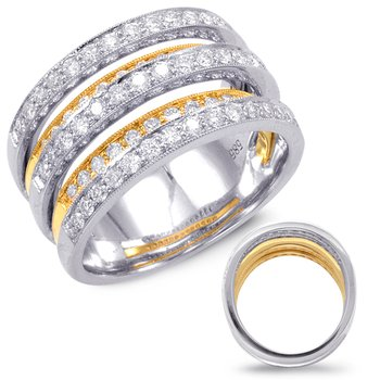 Diamond Band Yellow & White Gold