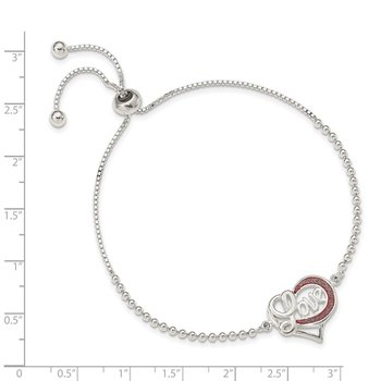Sterling Silver Glitter Infused Infinity LOVE Adjustable Bracelet