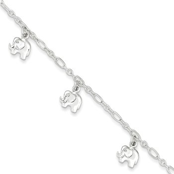 Sterling Silver Polished Elephant 5in Plus 1in ext. Bracelet
