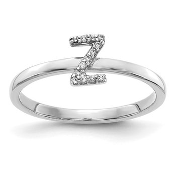 14k White Gold Diamond Initial Z Ring