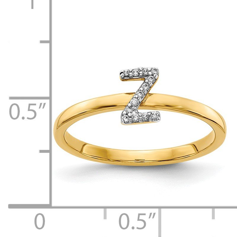 Quality Gold 14k White Gold Diamond Initial Z Ring