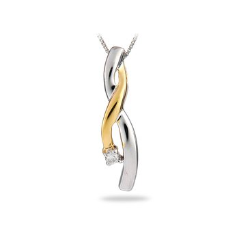 14K WY Diamond Twist Pendant