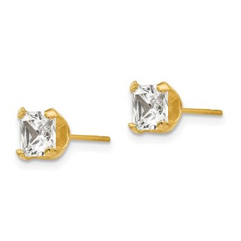 14k Madi K 5mm Square CZ Post Earrings