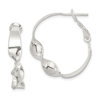 Sterling Silver Twisted Omega Back Hoop Earrings