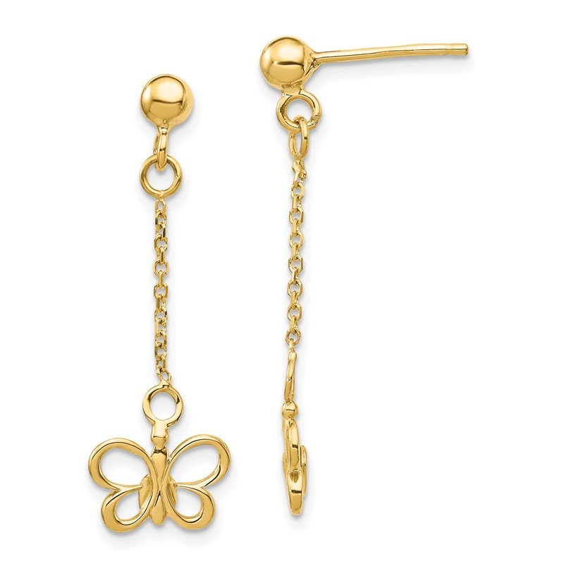 Quality Gold 14k Butterfly Dangle Post Earrings