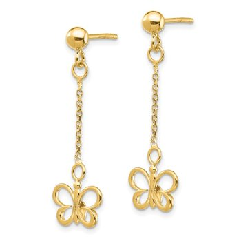 14k Butterfly Dangle Post Earrings