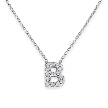 Diamond Bitty Block Initial B Necklace