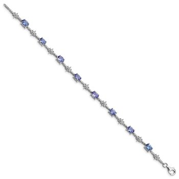 Sterling Silver Rhodium-plated Tanzanite and Diamond Bracelet