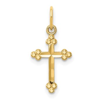 14k Small D/C Budded Cross Pendant