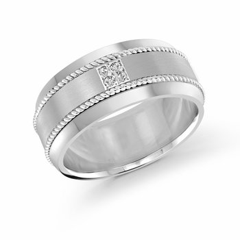 10mm all white gold band, embelished with 4X0.015CT diamonds