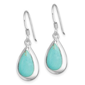 Sterling Silver Rhodium-plated Teardrop Synthetic Turquoise Earrings