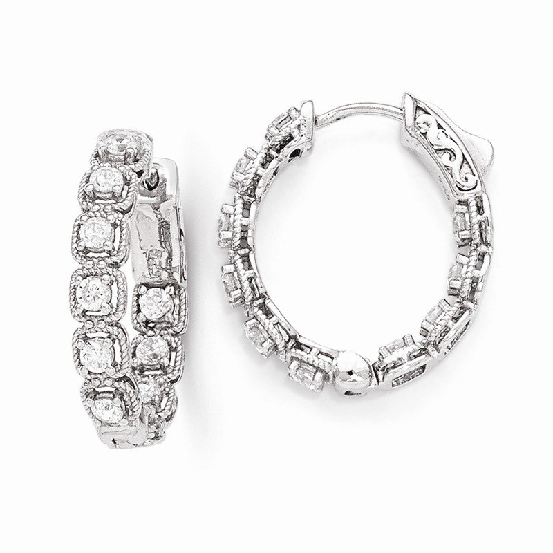 Quality Gold Sterling Silver Rhodium Plated CZ In and Out Oval Hoop Earrings
