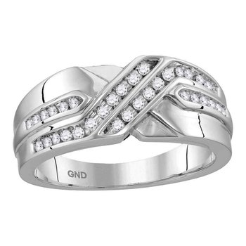 10kt White Gold Mens Round Diamond Two Row Wedding Anniversary Band Ring 1/4 Cttw