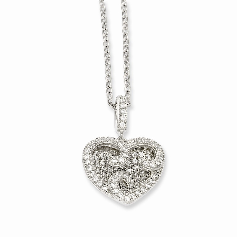 Brilliant Embers Sterling Silver Rhodium-plated Polished CZ Bead Pendant Necklace 18 2 Extender