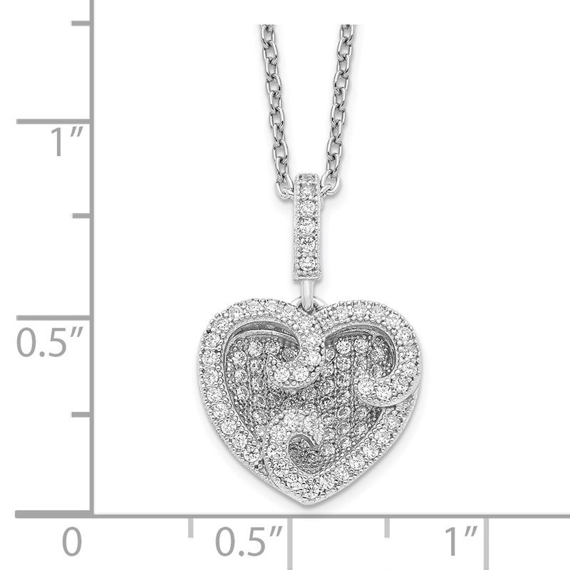 Quality Gold Sterling Silver Brilliant Embers Rhodium-plated CZ Polished Heart Necklace