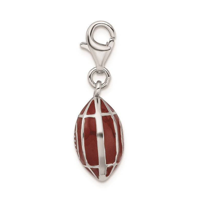Quality Gold Sterling Silver Rhodium-plated 3-D Enameled Football w/Lobster Clasp Charm