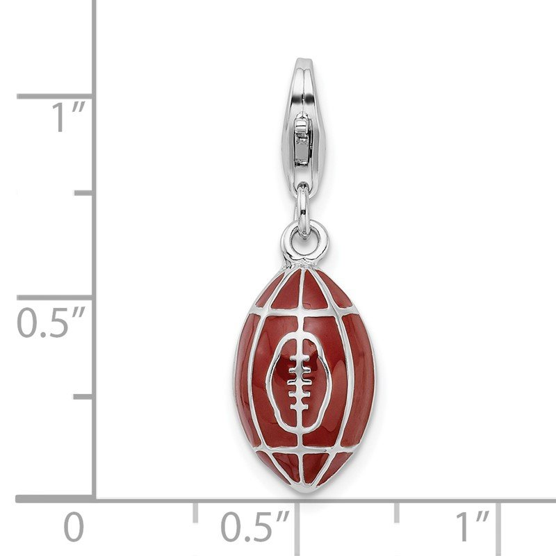 Quality Gold Sterling Silver Amore La Vita Rhodium-pl 3-D Enameled Football Charm