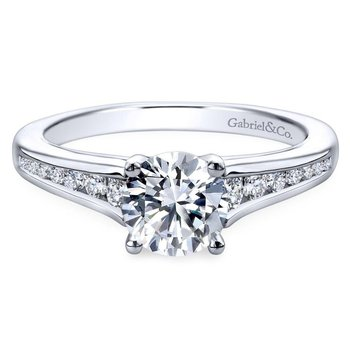 14k White Gold Diamond Straight Channel Set Engagement Ring