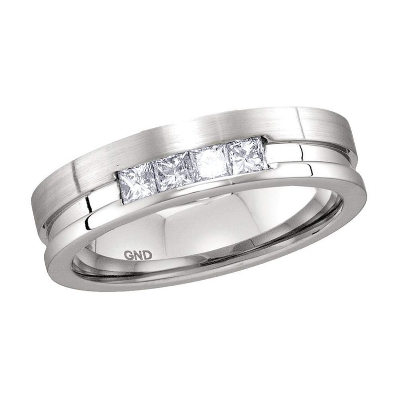 Kingdom Treasures 14kt White Gold Mens Princess Channel-set Diamond Single Row Wedding Band 1/2 Cttw