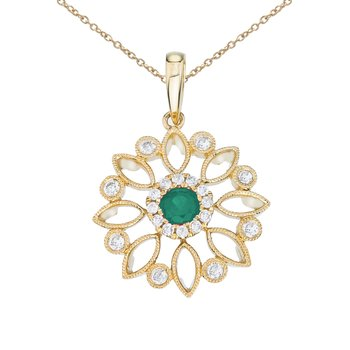 14k Yellow Gold Floral Filigree Emerald and Diamond Pendant