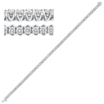 14K White Gold Prong Diamond Bracelet 7CT