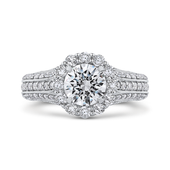 Round Diamond Halo Engagement Ring with Split Shank In 18K White Gold (Semi-Mount)