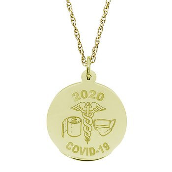 Covid-19 T-Paper & Mask Caduceus Necklace Set