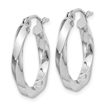 Sterling Silver Rhodium-plated 3x20mmTwisted Hoop Earrings