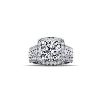 OMG Series Triple Row Cushion Shaped Diamond Halo Engagement Ring