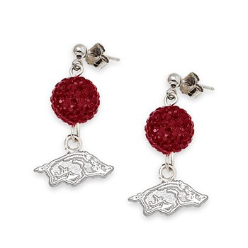 Sterling Silver University of Arkansas NCAA Earrings