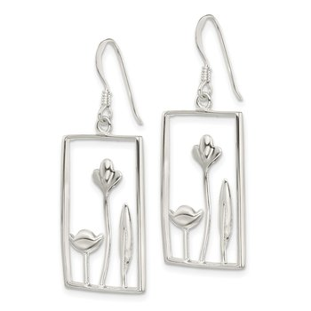 Sterling Silver Rectangle Flower Dangle Earrings