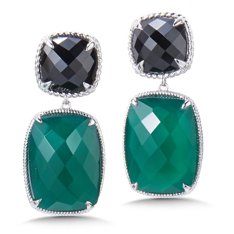 Colore Sg Sterling Silver Black Spinel & Green Onyx Drop Earrings