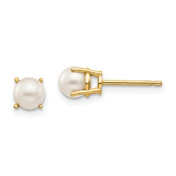 14k 4.5mm Round June/FW Cultured Pearl Post Earrings