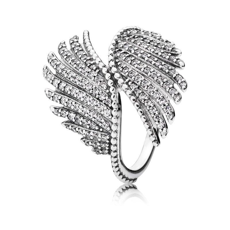 205792747 PANDORA Majestic Feathers Ring, Clear Cz. Stock # 190960CZ