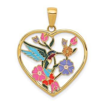 14k Enameled Hummingbird w/Flowers Heart Pendant