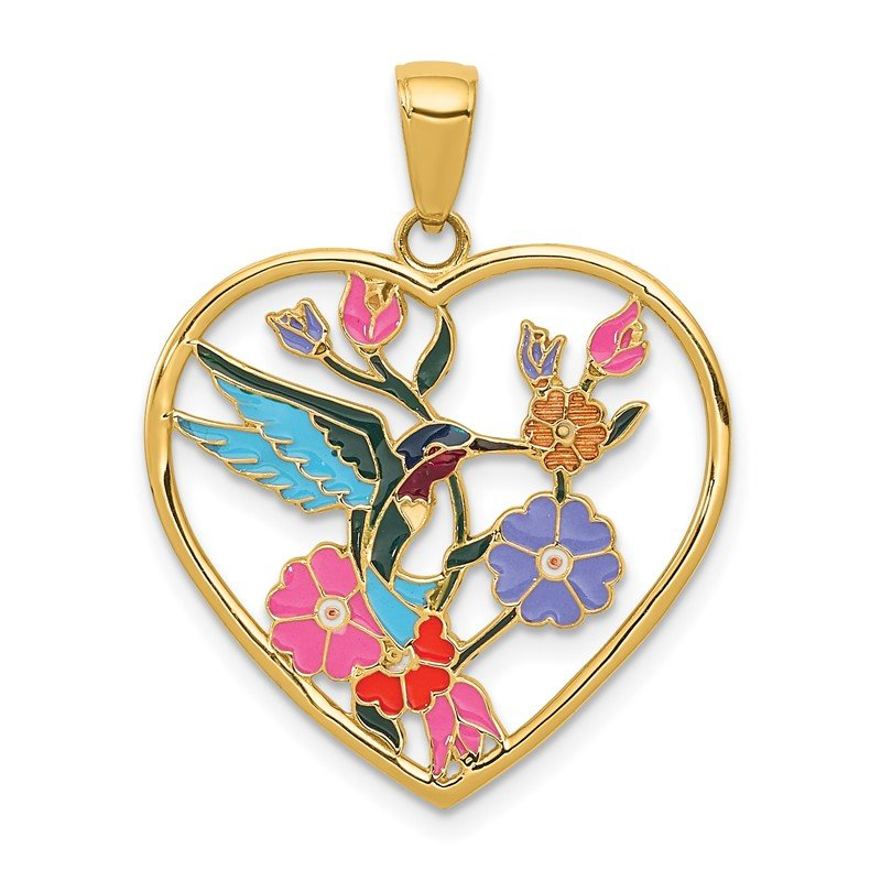 Quality Gold 14k Enameled Hummingbird w/Flowers Heart Pendant