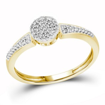 10kt Yellow Gold Womens Round Diamond Circle Cluster Ring 1/6 Cttw