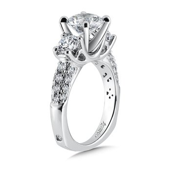 Round Diamond Three Stone Engagement Ring with Side Stones in 14K White Gold with Platinum Head (2ct. tw.)