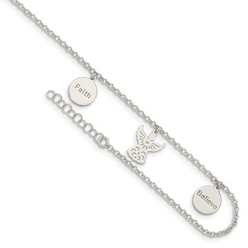 Sterling Silver Faith, Believe and Angel Dangles 9in Plus 1in Ext. Anklet