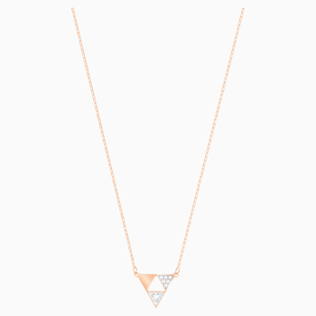 Heroism Necklace, White, Rose-gold tone plated