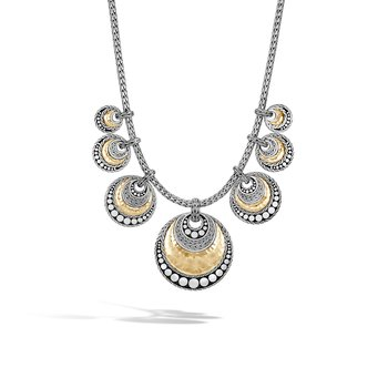Dot Bib Necklace in Silver and Hammered 18K Gold